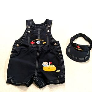 Navy blue overalls & visor sz 24 months